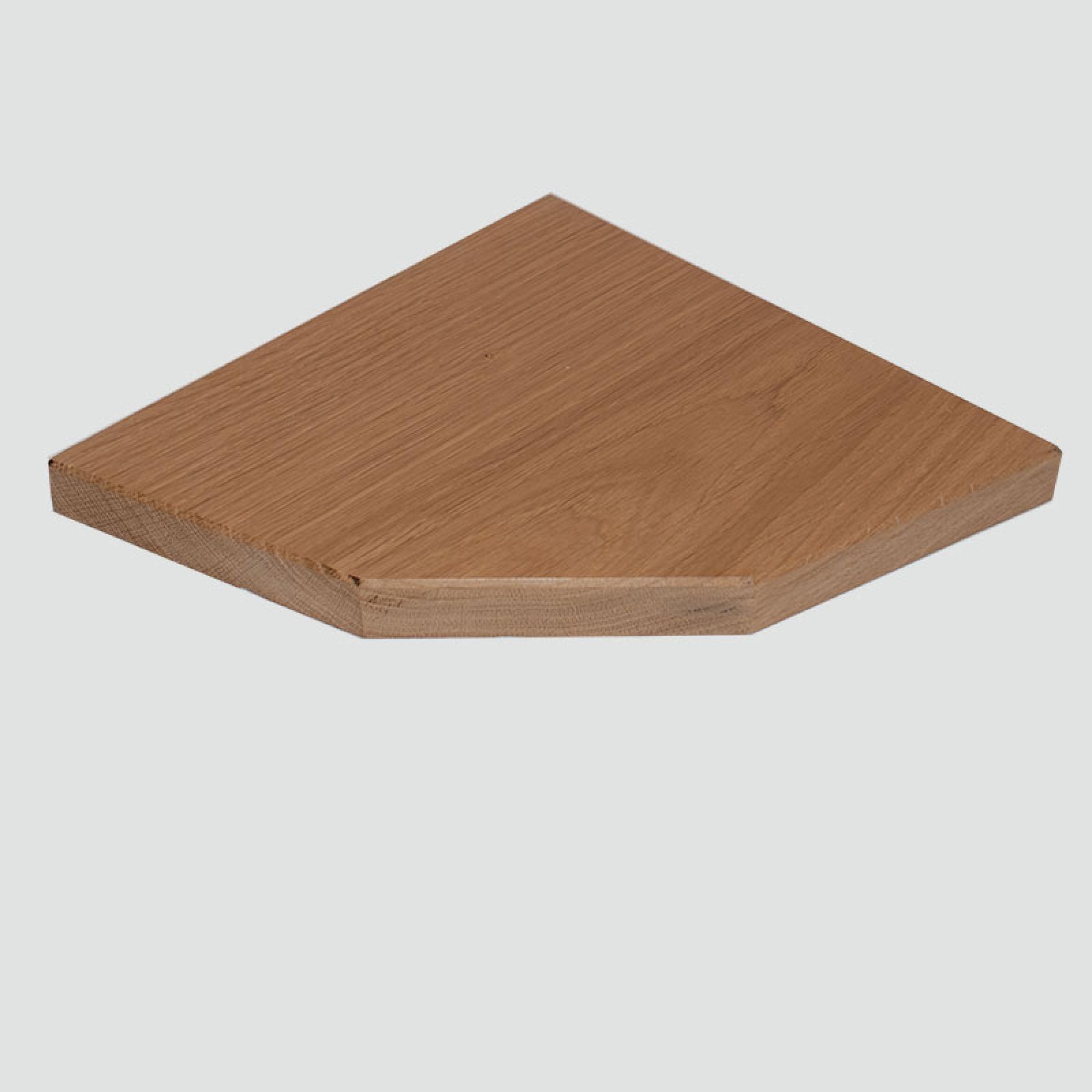 3 sided oak corner shelf